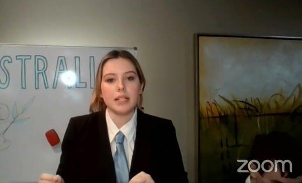 Screenshot of Livia competing in the World Debating Championships via Zoom